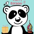 Cute doodle panda and bird with colourful cup cake...