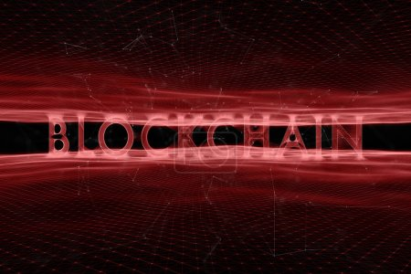 Blockchain word on digital red colored cyberspace network background
