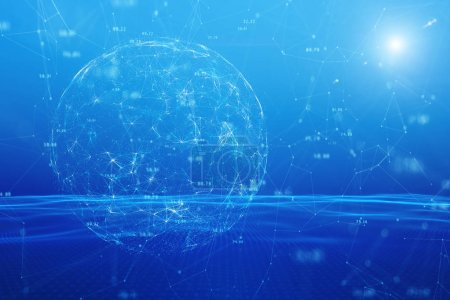 Futuristic digital network sphere on abstract blue sky illustration background