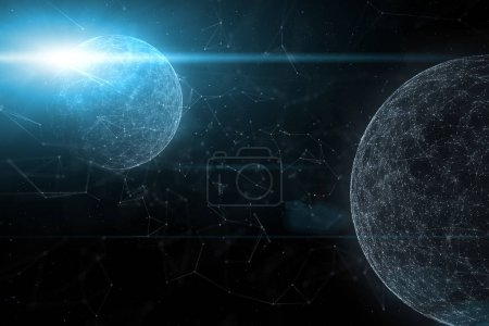 Futuristic cyberspace globes with flare of light and artistic connection lines illustration background