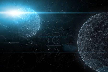 Globes de cyberespace futuriste avec flare de fond de connexion lumière et artistique lignes illustration