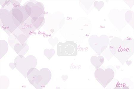 Photo pour Coeurs roses abstraits avec message de mot d'amour sur fond blanc . - image libre de droit