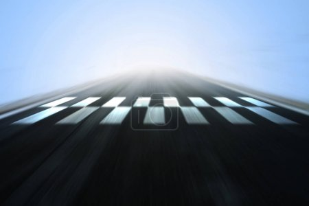 Photo for Abstract blurred race asphalt road with finish and start line pattern background. - Royalty Free Image