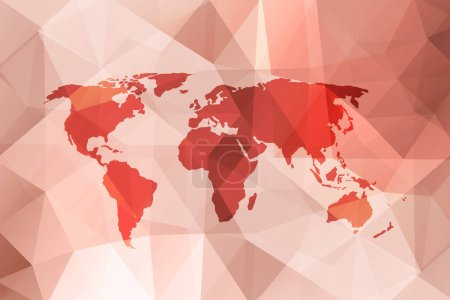 Abstract red colored world map illustration in polygonal style background.