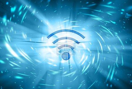 Artistic wireless symbol on motion blurred light travel illustration background.