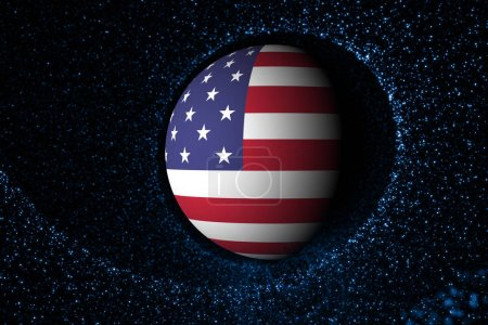 Photo for United States of America sphere flag on futuristic network cyberspace illustration background. View from space. Selective focus used. - Royalty Free Image