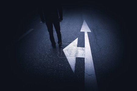 Photo for Pedestrian and abstract street arrows background - Royalty Free Image