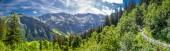 View of Elm village and Swiss mountains - Piz Segnas, Piz Sardona, Laaxer Stockli from Ampachli, Glarus, Switzerland, Europe.