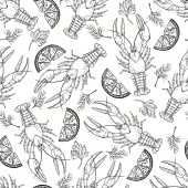 Monochrome seamless  pattern with crayfish parsley dill and lemon slices