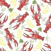 colorful seamless  pattern with crayfish parsley dill and lemon slices