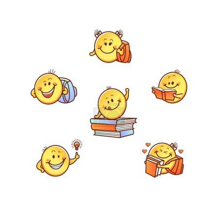 Illustration pour Drôle main dessiné enfants étudiant sourire, emoji visages avec des bras. Symboles féminins masculins enfantins mignons tenant sac à dos, lecture étudier et trouver des idées. Eléments de design enfants, illustration vectorielle - image libre de droit