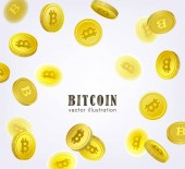 Bitcoin banner frame with falling BTC coins