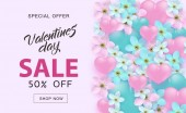 Valentines Day Sale vector illustration banner with hearts ribbon bows and flower