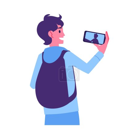 Photo for Vector young cheerful man with backpack making selfie photo or video using smarphone camera. Smiling student making photography by modern device. Isolated illustration - Royalty Free Image