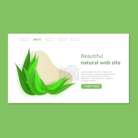 Photo for Beautiful landing page with shape and bio design in paper style. Natural green eco web site template. Vector illustration on a green background. - Royalty Free Image