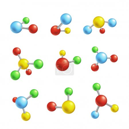 Photo for Vector abstract molecules set. Colorful blue yellow red green atoms molecular object for medical, chemical, biotechnologies and pharmaceutical related design. - Royalty Free Image