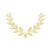 Golden laurel or olive Greek wreath for awards and certification vector isolated