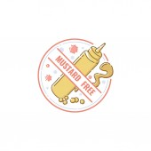 Mustard free food label flat pastel icon for allergy and allergen restriction
