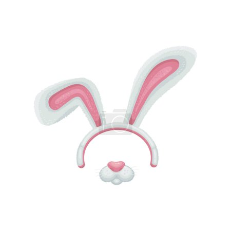 Cartoon easter bunny or rabbit ears and mouth with...