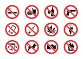 Set of signs prohibiting alcohol weapons and other vector illustration isolated
