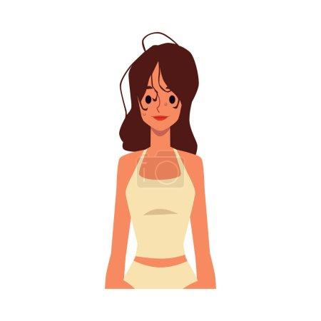 Illustration pour Femme brune avec de longs cheveux mouillés et salissants après le bain ou le shampooing, dessin animé plat vecteur illustration isolé sur fond blanc. Concept de procédure hygiénique quotidienne . - image libre de droit
