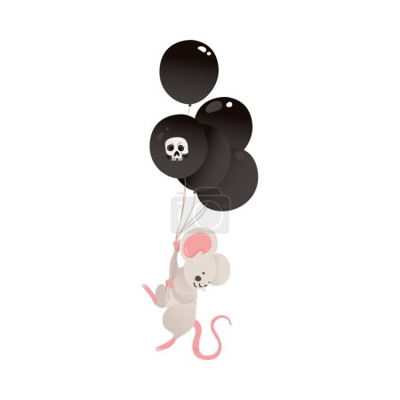 Illustration for Cute baby mouse with black scaring balloons, flat vector illustration isolated on white background. Pretty little animals for Halloween greeting and invitation cards. - Royalty Free Image