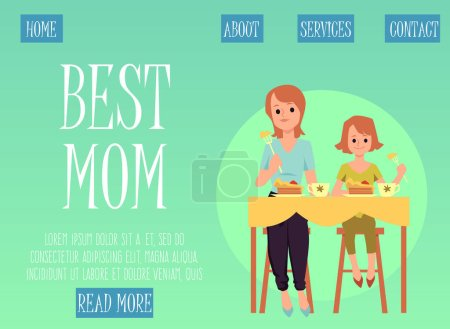 Photo pour Mother and daughter eating food together - website banner template with cartoon woman and girl sitting at kitchen table having lunch, vector illustration. - image libre de droit