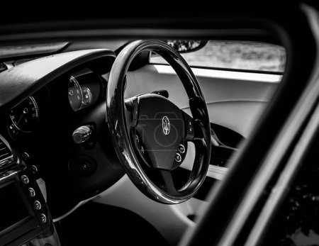 The luxury wooden steering wheel