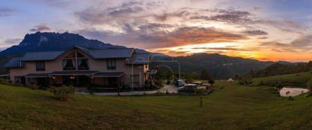 Amazing Sunrise moment with Mount Kinabalu view from Kundasang, Sabah, Borneo for Background use