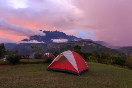 Beautiful nature landscape view camping site with Mount Kinabalu, Kundasang, Sabah, Malaysia for Background use