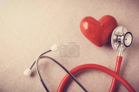 Photo for Red heart with stethoscope, heart health,  health insurance concept - Royalty Free Image