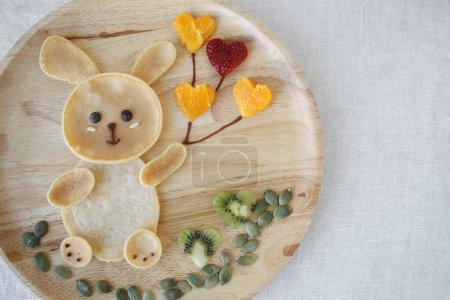 Bunny pancake breakfast, fun food art for kids