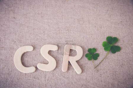 CSR with green leaves, copy space background,toning