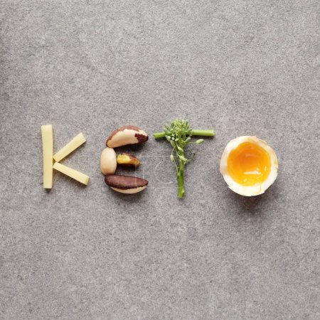 food with low carbs on table in form word Keto, Ketogenic diet concept