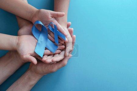 Rubans bleu clair avec moustache sur fond bleu, Prostate C