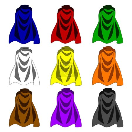 Collection of Colorful Cloaks isolated on white background. Colored Capes. Vector Illustration for Your Design, Game, Card.