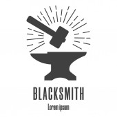 Silhouette icon of a hammer and anvil Blacksmith repair logo Clean and modern vector illustration