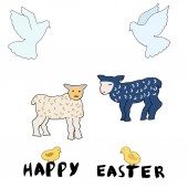 Set of cute Easter cartoon characters and design elements Easter lamb chicks and doves  Hand written happy easter lettering with brush ink Vector illustration on white background