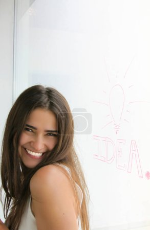 Cute girl smiling drew Idea