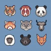 Pixel art asian wild animals vector icons set