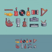 Pixel art retro style music instruments vector set