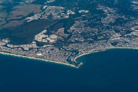 Aerial view of Buddina and Minyama suburbs of Sunshine Coast. Australia