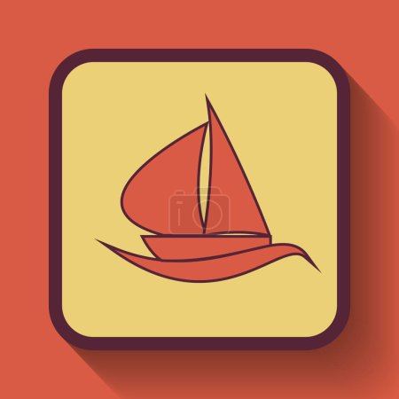 Sailboat icon, colored website button on orange background