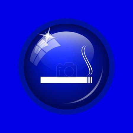 Cigarette icon. Internet button on blue background.