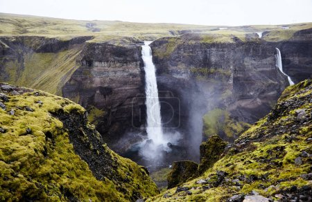 Photo for Famous Waterfall Haifoss in Iceland. Waterfalls in South-West Iceland - Royalty Free Image