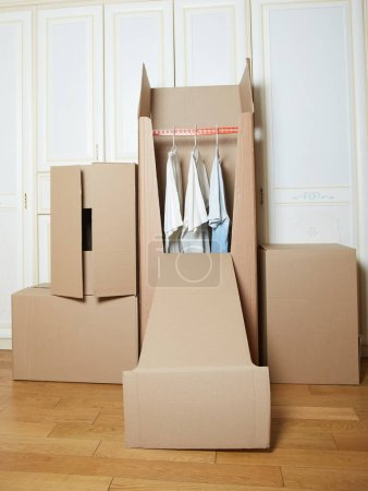 Photo for Moving boxes. cardboard box. stack of boxes. box for clothes - Royalty Free Image