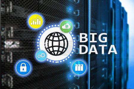 Big data analysing server. Internet and technology.