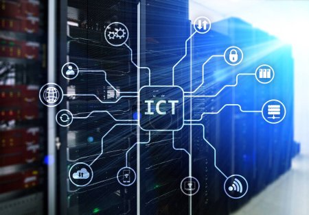 Photo for ICT - information and communications technology concept on server room background. - Royalty Free Image