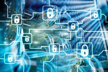 Photo pour Cryptage des informations Blochain. Cybersécurité, crypto-monnaie . - image libre de droit