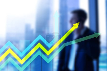 Financial growth arrows graph. Investment and trading concept.